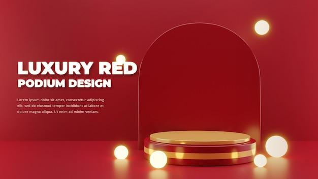 Luxe rood podiumontwerp, 3d-rendering