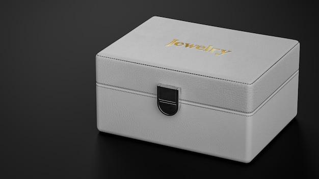 Luxe sieraden logo mockup van lederen doos 3d render