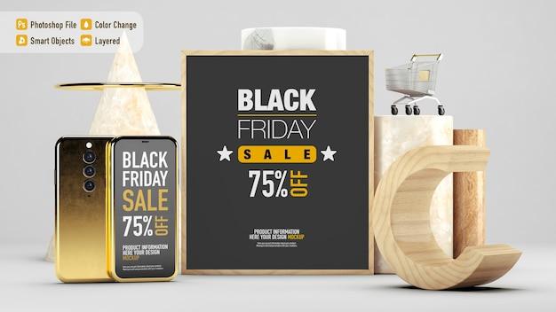 Luxe stillevenmodel voor black friday met verschillende geïsoleerde objecten