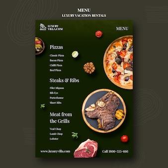 Luxe vakantieverblijven restaurant menusjabloon