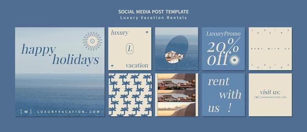 Luxe vakantiewoningen insta social media post ontwerpsjabloon
