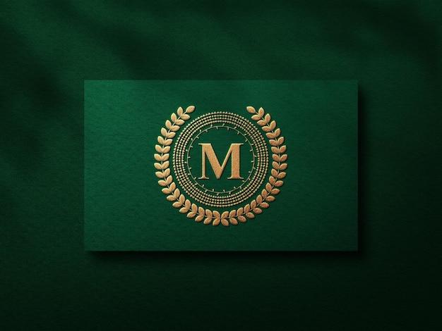 Luxe visitekaartje mockup met gouden boekdruk effect