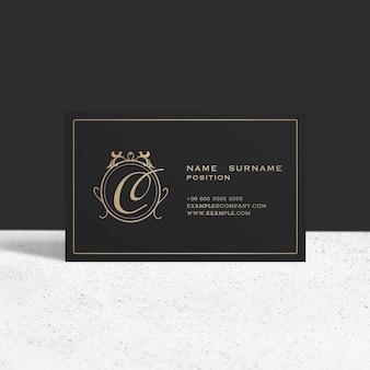 Luxe visitekaartje mockup psd in zwarte en gouden toon