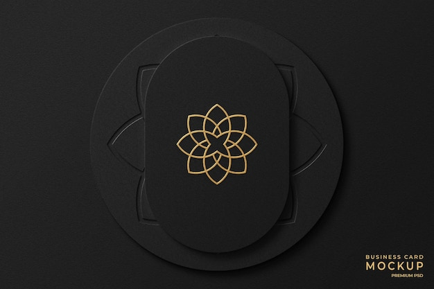 Luxe visitekaartjesmodel van goudfolie met letterpress-logo op achtergrond