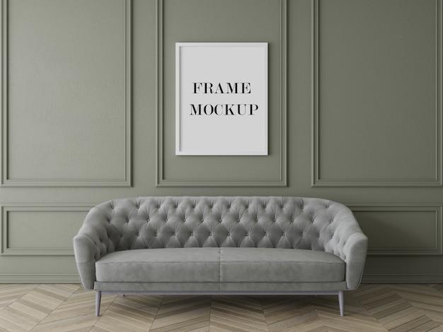 Luxe woonkamer frame mockup met meubels