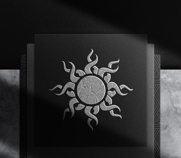 Luxe zilveren plaat reliëfpapier bovenaanzicht mockup