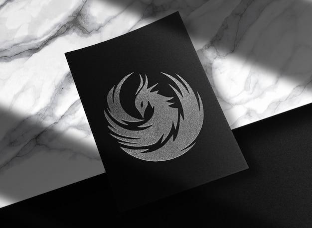 Luxe zilveren reliëfpapier mockup