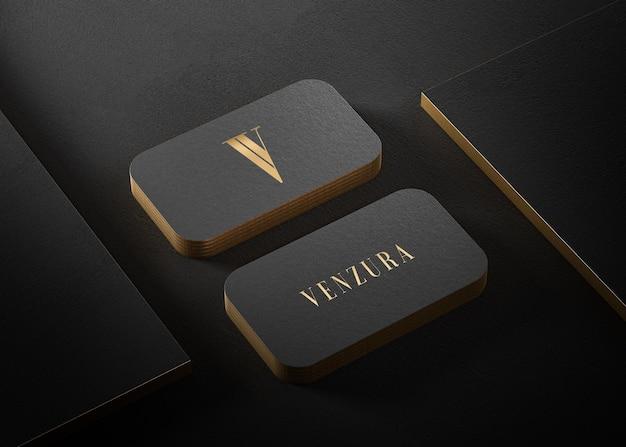 Luxe zwart goud boekdruk visitekaartje mockup voor merkidentiteit 3d render