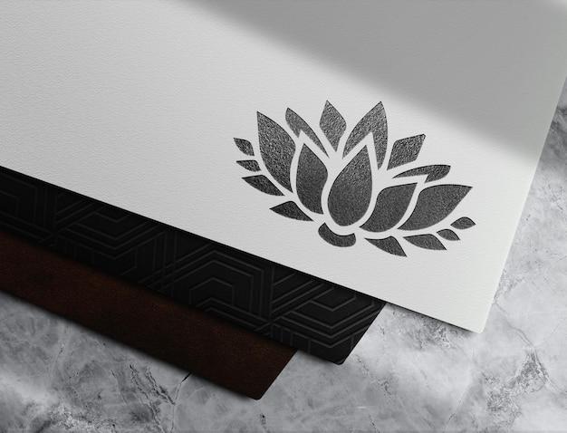 Luxe zwart reliëfpapier vooraanzicht mockup