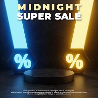 Luz de neón de medianoche 3d, podio de ventas.