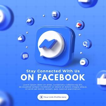 Maak contact met ons op bedrijfspagina's voor mockup van facebook-berichten