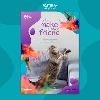 Maak een nieuwe donzige vriend poster sjabloon