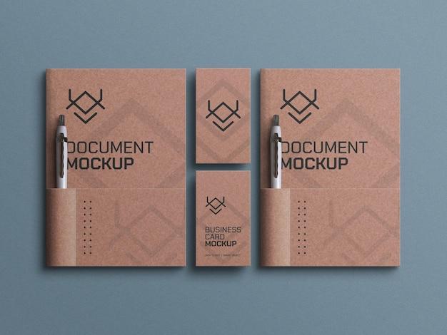 Maak een papieren document met mockup voor visitekaartjes