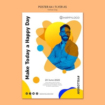 Maak vandaag een gele happy day-poster