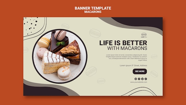 Macarons banner template design