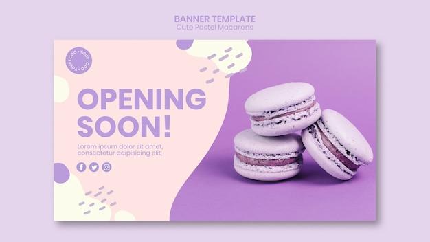 Macarons che si apriranno presto modello di banner