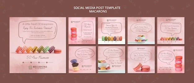 Macarons concept social media postsjabloon