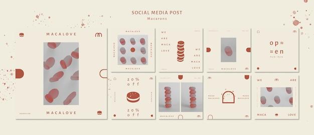 Macarons negozio modello di post social media