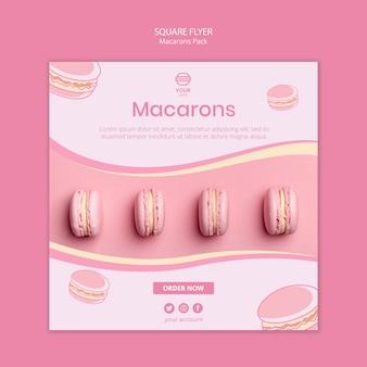 Macarons pack diseño de flyer cuadrado