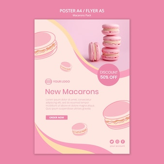 Macarons pack flyer-stijl