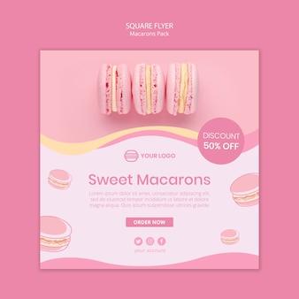 Macarons pakken vierkante flyer in
