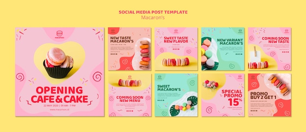 Macarons social media postsjabloon