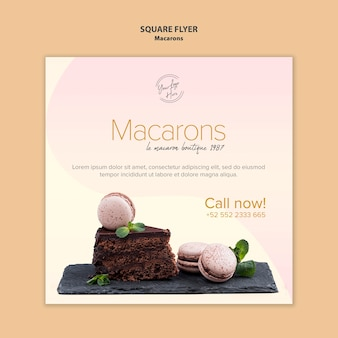 Macarons verkoop vierkante flyer-stijl