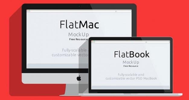Macbook platte mockups psd materiaal