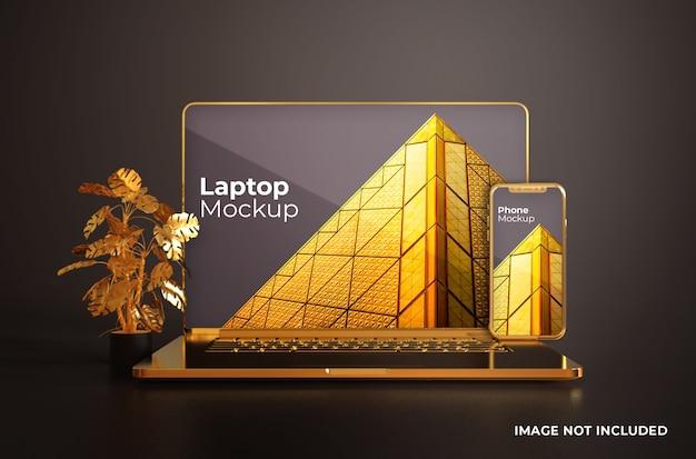Macbook pro dorado con vista frontal de maqueta de smartphone