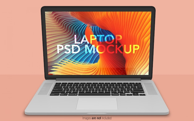 Macbook pro psd mockup vista frontale