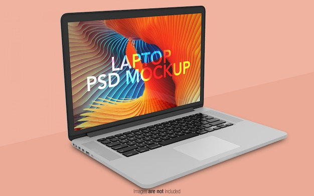 Macbook pro psd mockup vista en perspectiva