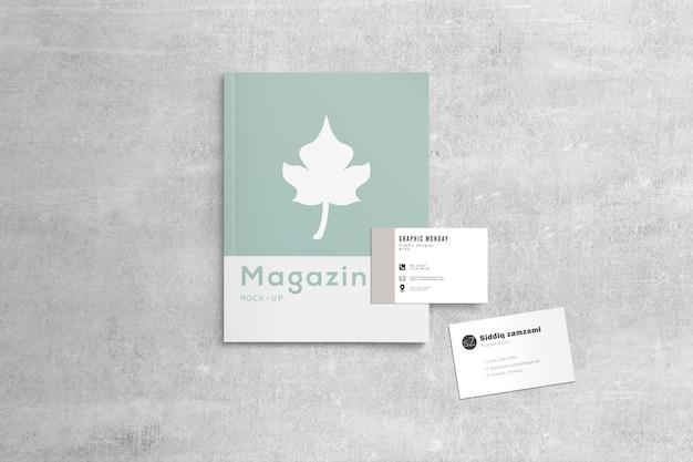 Maganize con maqueta de tarjetas de visita