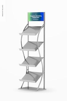 Magazine advertising display rack mockup, juiste weergave