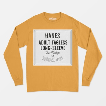 Maglietta per adulti a maniche lunghe senza etichetta hanes