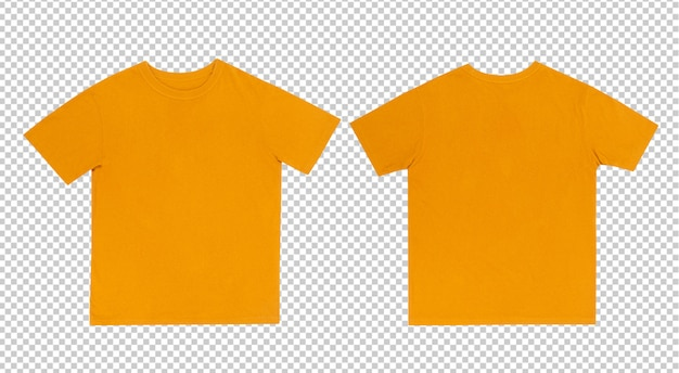 Magliette gialle mockup davanti e dietro