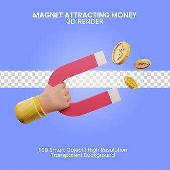 Magneet aantrekken van geld 3d render illustratie geïsoleerd