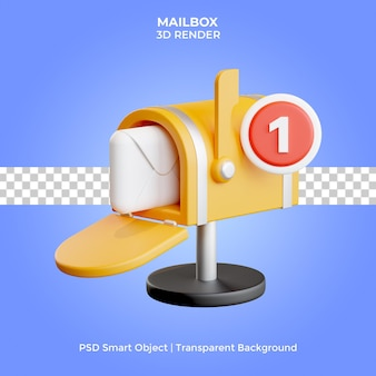 Mailbox 3d render geïsoleerd premium psd