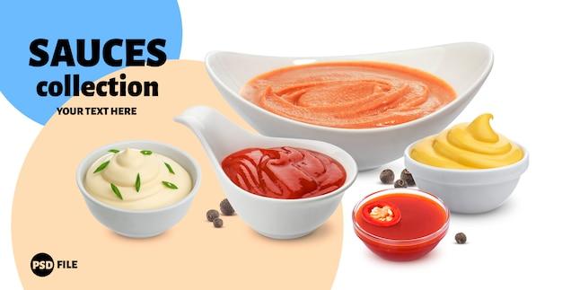 Maionese, ketchup, panna acida e salsa di peperoncino