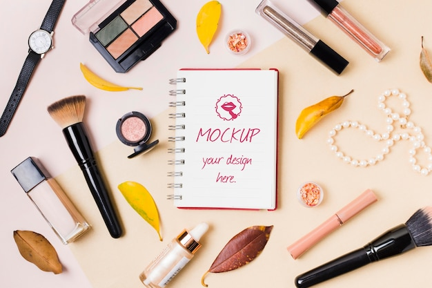 Make-up accessoires concept mock-up