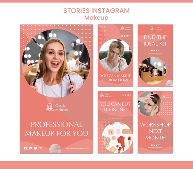 Make-up concept instagram verhalen sjabloon