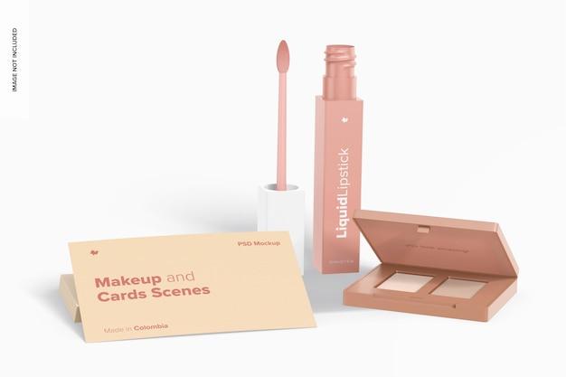 Make-up en kaartscènes mockup, vooraanzicht