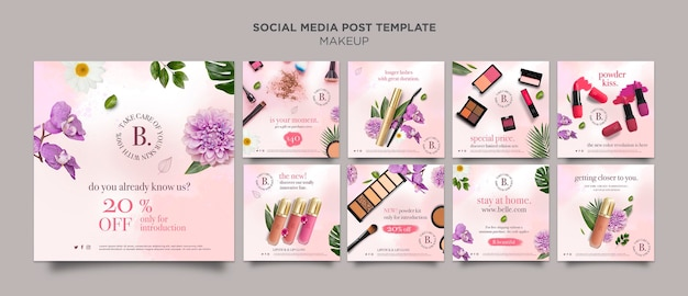 Make-up postsjabloon voor sociale media
