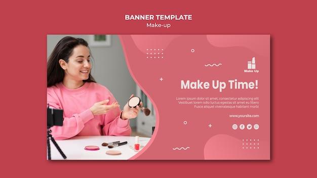 Make-up producten horizontale banner met foto