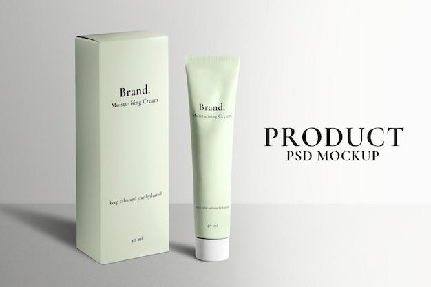 Make-up tube mockup psd met doos voor schoonheidsproducten in pastel design