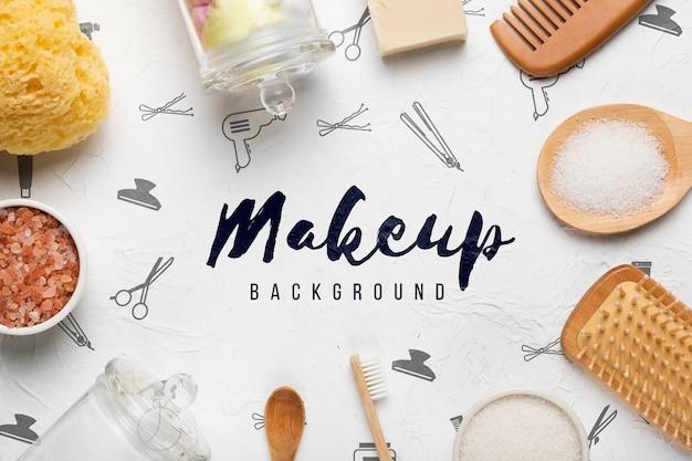 Make-upachtergrond die door badkamersproducten wordt omringd