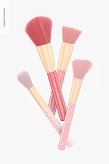Make-upborstels set mockup, drijvend