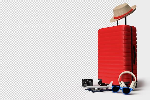 Maleta con accesorios de avión y viajero, artículos imprescindibles para las vacaciones. viaje de vacaciones de aventura y viajes. plantilla de maqueta de banner de diseño de concepto de viaje. representación 3d