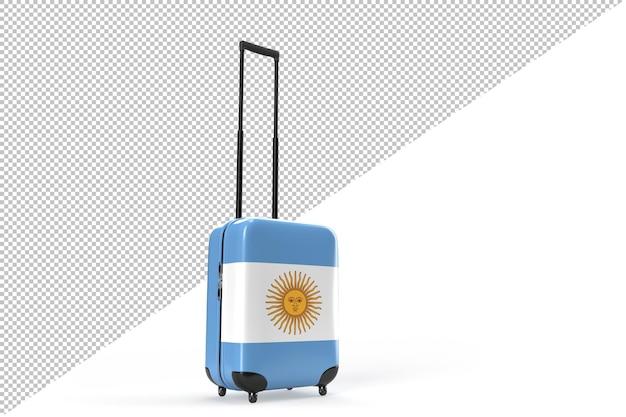 Maleta de viaje con la bandera de argentina. concepto de viaje. representación 3d