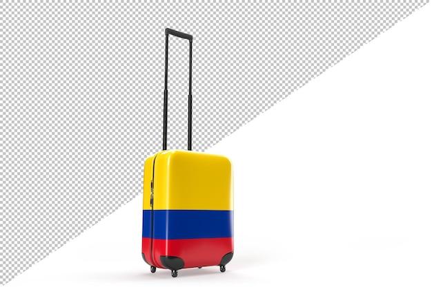 Maleta de viaje con la bandera de colombia. concepto de viaje. aislado. representación 3d