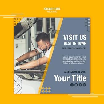 Man aan het werk als mechanische assistent vierkante flyer Gratis Psd